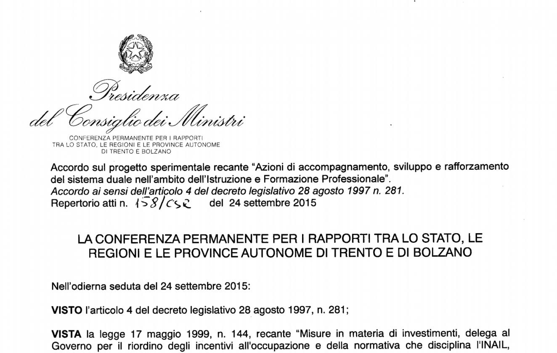 Accordo Stato/Regioni del 24 settembre 2015